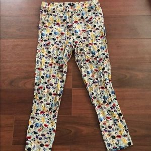 Colorful print ankle pants